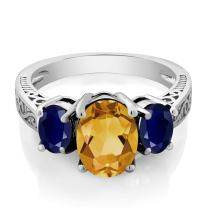 Gem Stone King 925 Sterling Silver Yellow Citrine and Blue Sapphire 3-Stone Women's Engagement Ring 2.25 Ct Oval (Available 5,6,7,8,9)
