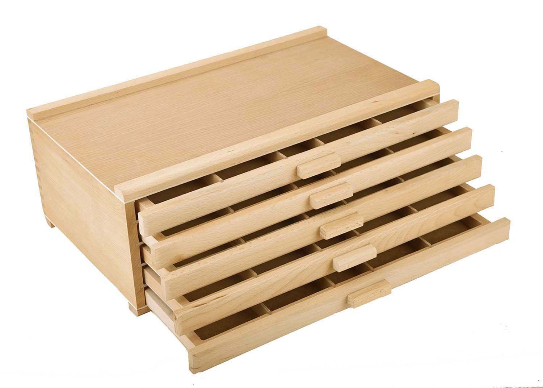 Vencer 5 Drawer Wood Art Storage Box for Pencil, Pen, Pastel, Marker Set VAO-003