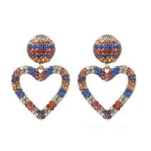 Colorful Crystal Heart Love Drop Dangle Earrings for Women Girls KELMALL COLLECTION