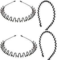 4 Pack Metal Headbands, WantGor Fashion Unisex Black Hairband Spring Wave Sports Headwear Hair Hoop Hair Accessories