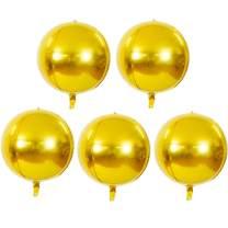 TONIFUL 5pcs Hangable Gold 4D Round Sphere Foil Mylar Balloon 22inch Large Aluminum Film Balloon Gold Mirror Metallic for Birthday Party Wedding Baby Shower Decoration Supplies