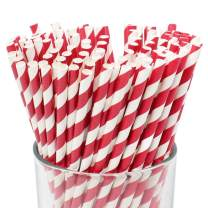 Just Artifacts 100pcs Premium Biodegradable Striped Paper Straws (Striped, Red)