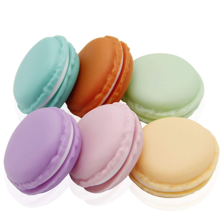 Coolrunner Macaron Case, Mini Macaron Box, Macaron Jewelry Box, Macaron Cute Pill Box, Colorful Macaron Jewelry Storage Box, Shape Storage Box Candy Cute Pill Organizer Case Container(6 PCS)