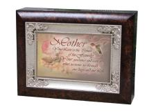 Cottage Garden Mother Your Love Center of The Family Burlwood Jewelry Music Box Plays Wind Beneath My Wings