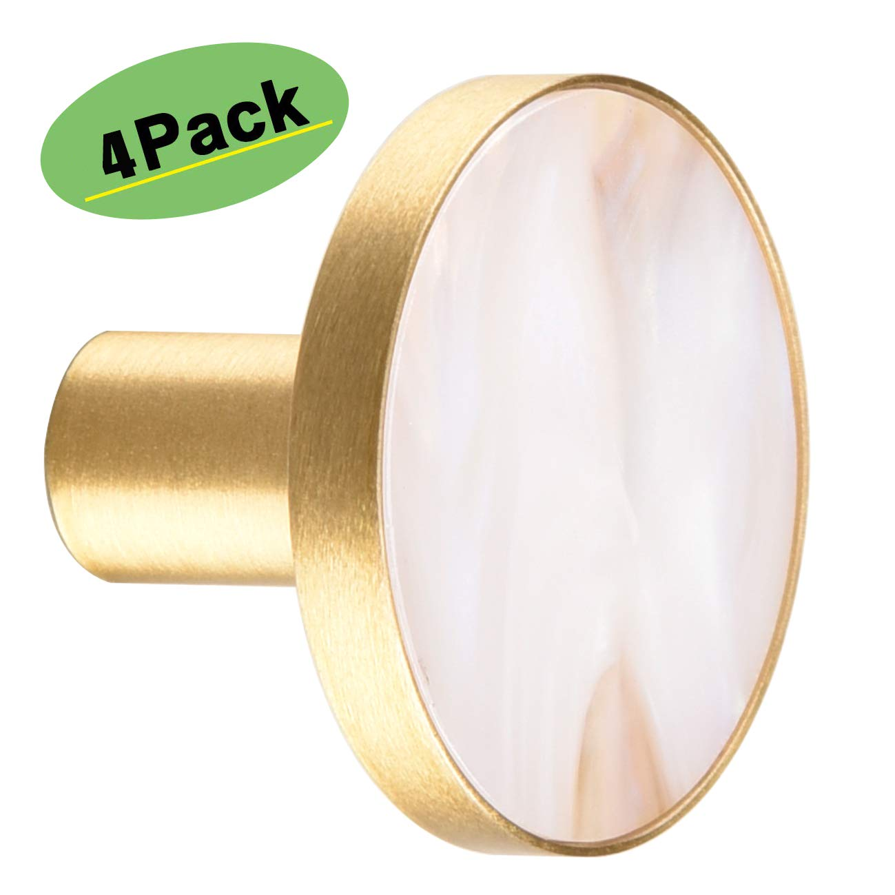 Qogrisun 4 Pack Premium Solid Brass Round Cabinet Hardware Knobs Cupboard Pulls and Kitchen Drawer 1.3inches/33mm Dia,Beige Shell