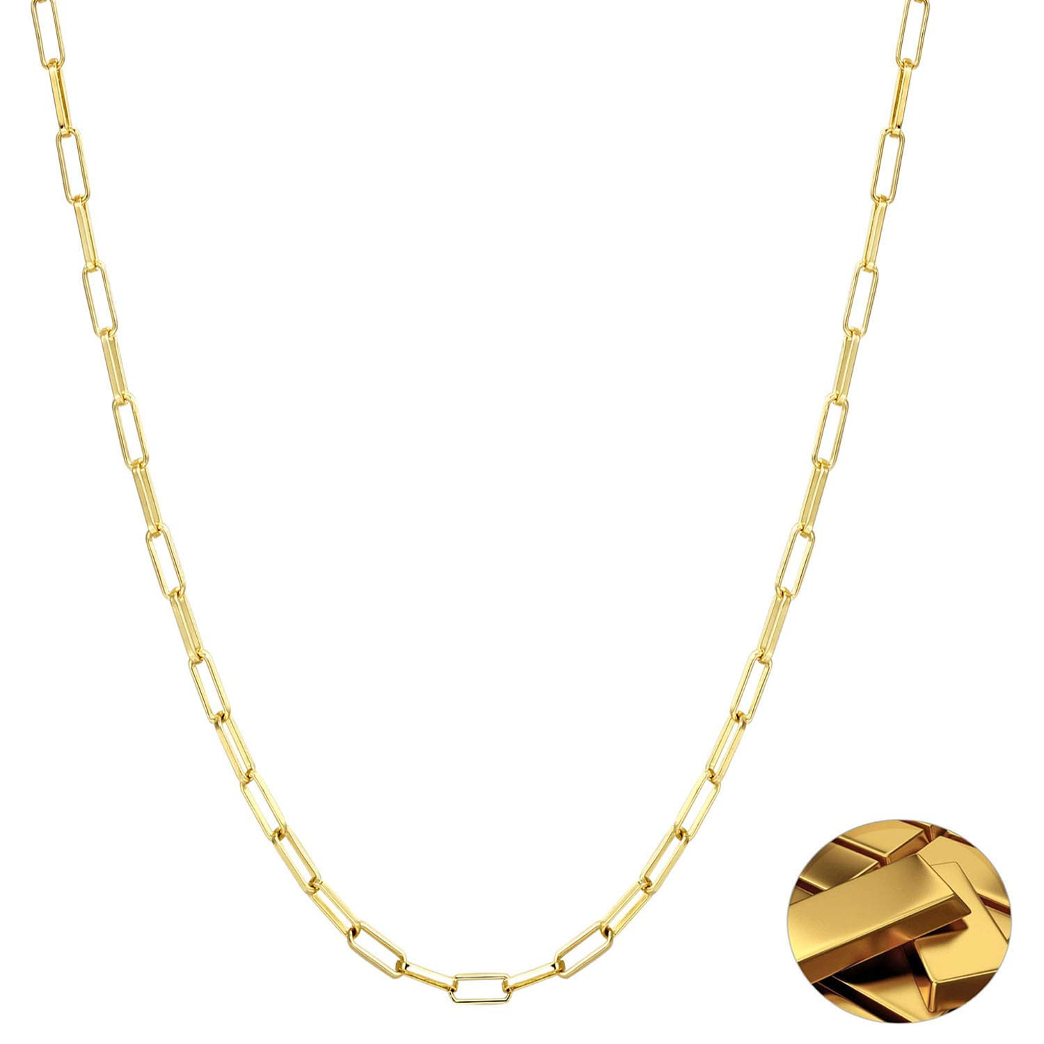 Chain Necklace 14K Real Gold Plated Dainty Figaro Paperclip Chain Oval Link Chain to DIY Jewelry Making Ideal Gifts for Women and Girls in Daily Life 24inch