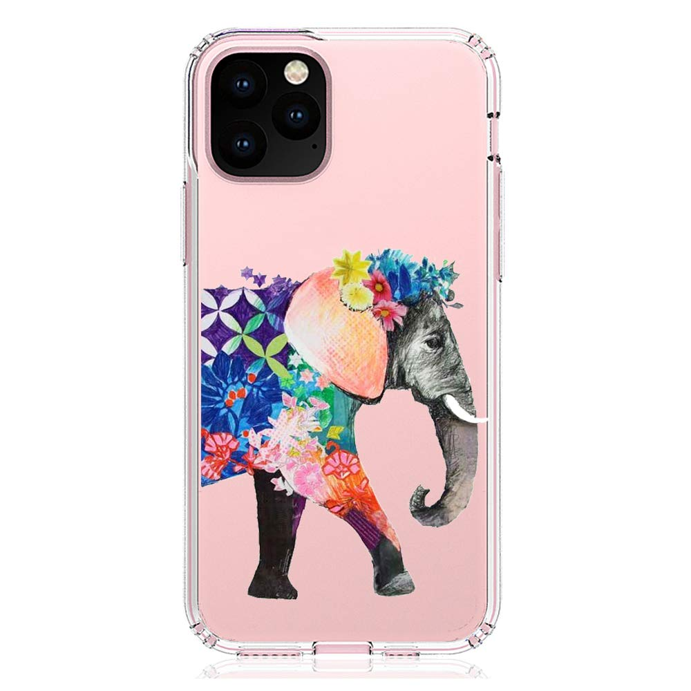 """HUIYCUU Compatible with iPhone 11 Pro 5.8"""" Case, Shockproof Anti-Slip Cute Animal Clear Design Pattern Funny Slim Fit Soft Bumper Girl Women Cover Case for iPhone 11Pro XI Pro 5.8, Colorful Elephant"""
