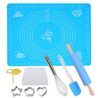Silicone Baking mats with Measurements,rolling pin,Non-slip Heat Resistant,Non Stick Baking Mat for Rolling Dough(9Pcs)