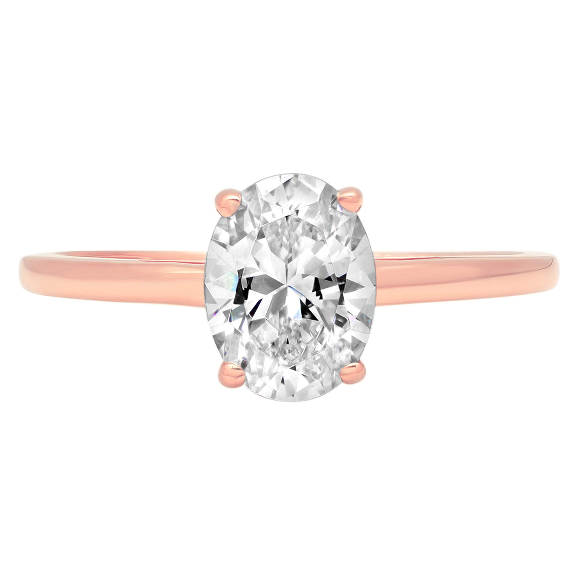 1.0 ct Brilliant Oval Cut Solitaire Highest Quality Lab Created White Sapphire Ideal VVS1 D 4-Prong Engagement Wedding Bridal Promise Anniversary Ring Solid Real 14k Rose Gold for Women