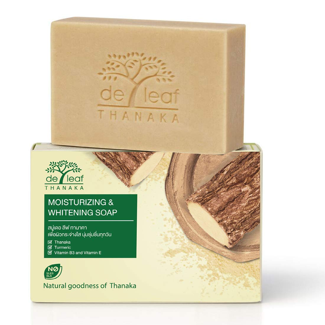 DE LEAF THANAKA Natural Moisturizing Whitening Bar Soap, Vitamin B3 E Beauty Deep Cleansing Hydration Moisturize Clean Natural Face Facial Body Skin Soap, 100g 12 Pack Count Thanaka