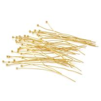Beadthoven 50pcs Golden Plated Brass Ball Headpins, DIY Jewelry Necklace Beading Making, Size: About 0.5mm Thick, 50mm Long