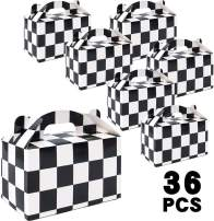 Moretoes 36 Pack Checkered Racing Treat Boxes Gable Boxes Black and White Paper Boxes Race Car Theme Party Favors