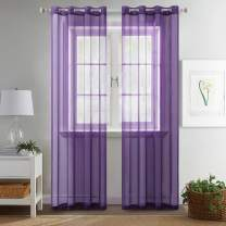 MIULEE 2 Panels Solid Color Purple Sheer Curtains Elegant Grommet Top Window Voile Panels/Drapes/Treatment for Bedroom Living Room (54X45 Inches)
