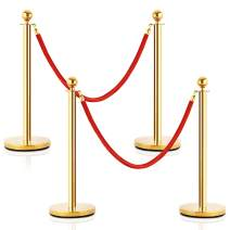 Goplus 4Pcs Stainless Steel Stanchion Posts Queue Pole Retractable 2 Ropes Crowd Control Barrier with 5Ft Red Velvet Rope, Gold