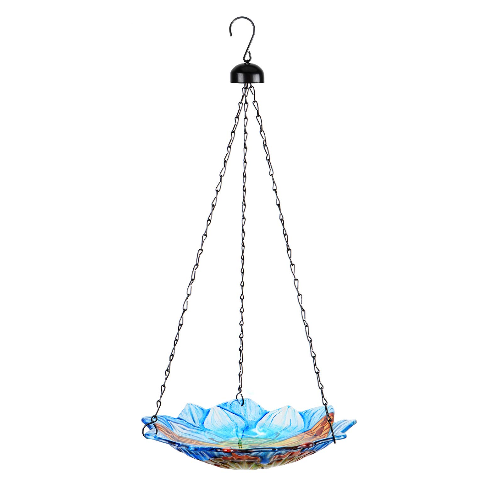 DREAM GARDEN Hanging Bird Bath - 11-Inch Glass Birdbath Butterfly Birdfeeders for Outdoor Garden Yard Decoration Blue