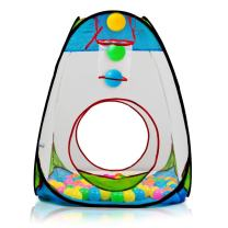 "Children's Pop Up Playhouse Tent with Set of ""100 Colorful Balls"" Ball Pit with Basketball Hoop, for Indoor and Outdoor use, Great for Kids & Toddlers by Dimple"