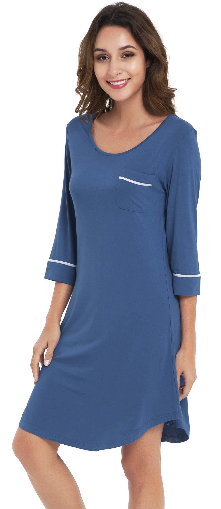 NEIWAI Women's Nightshirts Bamboo 3/4 Sleeve Sleep Shirts Nightgown S-4X