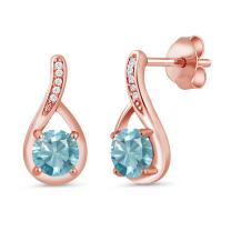 Gem Stone King 1.77 Ct Round Blue Zircon and Diamond 18K Rose Gold Plated Silver Infinity Earrings