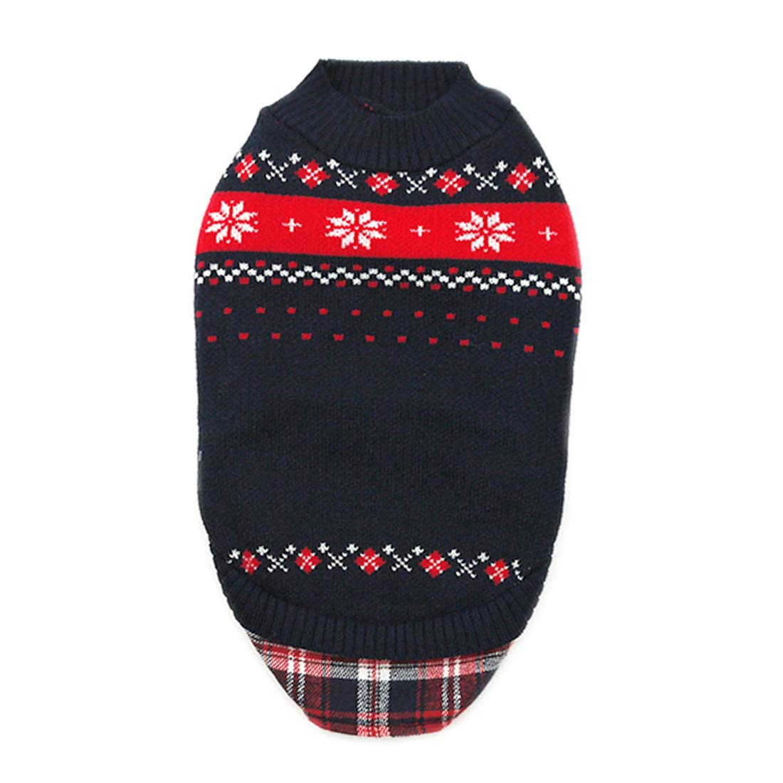 kyeese Dog Sweaters for Small Dogs with Leash Hole Dog Sweater Snowflake Pattern with Gingham Patchwork Knit Warm Pet Sweater