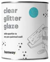 Hemway 1L Clear Glitter Paint Glaze for Pre-Painted Walls Acrylic, Latex, Emulsion, Ceiling, Wood, Varnish, Dead Flat, Matte, Soft Sheen or Silk (34 Variations) (Baby Blue)