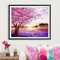 Faraway Lakeside Cherry Blossoms Full Round Diamond Painting Modern Simple Romantic Wedding Series 5D Rhinestone Embroidery Mosaic Painting for Wall Decor 16X20inch