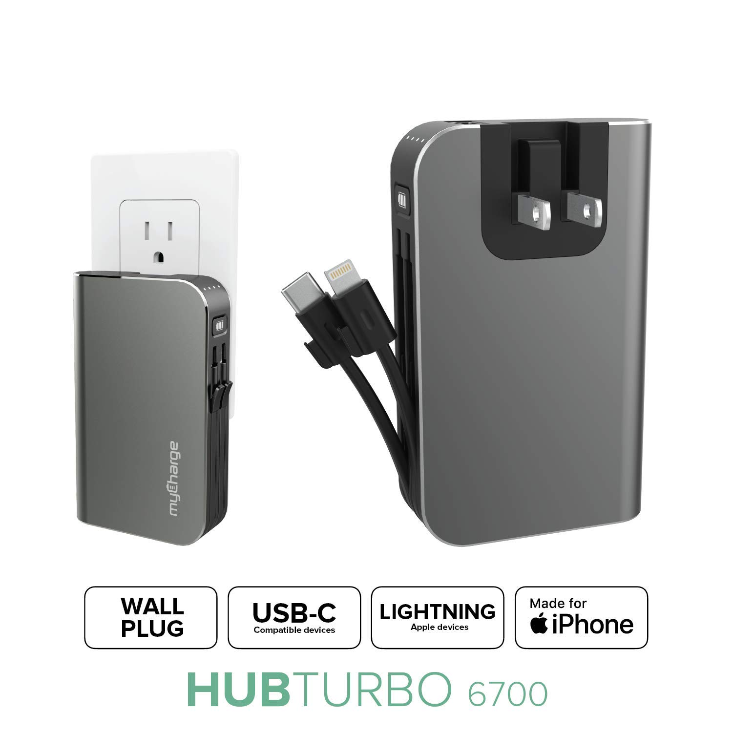 myCharge Portable Charger with Built in Cables [iPhone Lightning + USB C] 6700 mAh 18W Fast Charge Hub Turbo Power Bank External Battery Pack | AC Wall Charger Plug, Dual Cords, USB-A Output