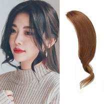 Dsoar 2PCS Clip in Bangs Real Human Hair Bang Clip in Wave Side Bangs Curly Fringe Hair Extensions(Light Brown)