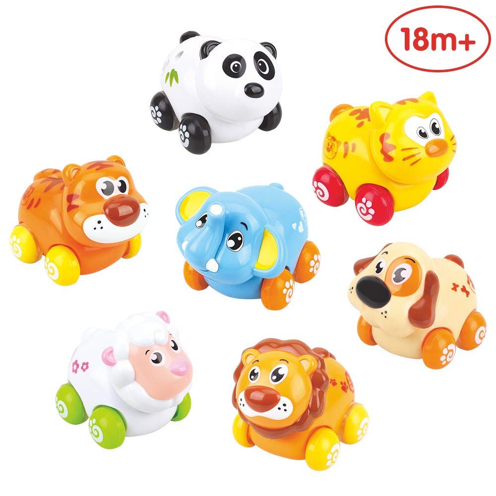ANIKI TOYS, Push and Go Vehicles Sliding Animal Car, Adorable Animal Farm Zoo Toy, 7 Cars in a Set, Lovely Gift for 1 2 3 4 Years Old Girls Boys Toddlers Kids