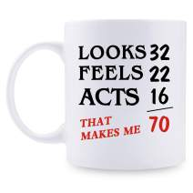 70th Birthday Gifts for Women - 1951 Birthday Gifts for Women, Funny Coffee Mug, 70 Year Old Birthday Gifts for Mom, Wife, Friend, Aunt, Sister, Cousin, Coworker, Her - 11oz
