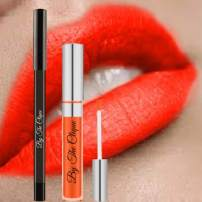 Premium Long Lasting Matte Lip Kit   On Fire   Vibrant Red Orange Color   Perfect Texture   Lipstick and Lip Liner Pencil Set   By The Clique