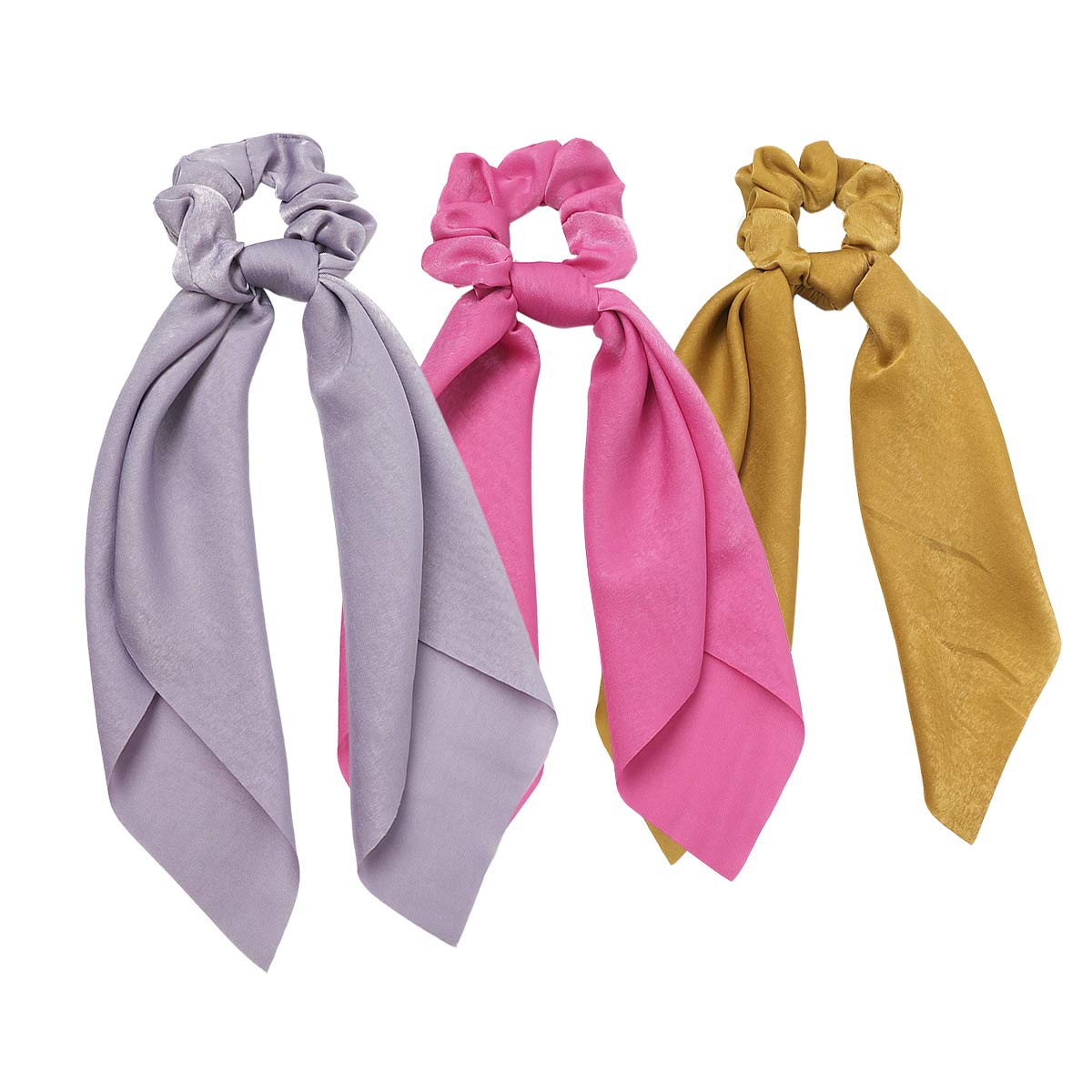 WONSAMAM Hair Scarves & Hair Ties, Fashion Cotton Hair Ribbon Bow Scrunchies with Solid Colors, Soft Hair Scarf, Bunny Ear Scrunchies, Satin Scarf Hair Ties Bowknot Ponytail Holder for Women Girls