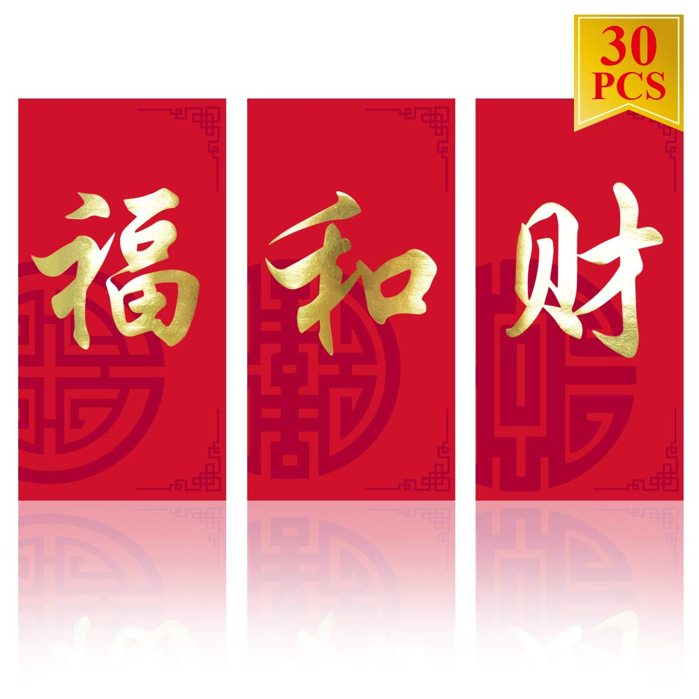 WEEPA 30 Pcs Chinese New Year Red Envelopes 2020 Chinese Rat Year Hong Bao Lucky Red Pockets for Chinese Spring Festival Money Pockets Representing Wealth Peace Blessing 3 Design
