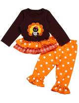 Seyouag Thanksgiving Clothes Toddler Baby Girls Long Sleeve Turkey Ruffle Tops Dress and Legging Outfit