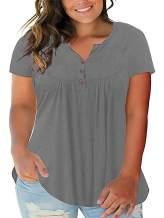 Yskkt Womens Henley Shirts Plus Size V Neck Long Sleeve Button Down Tunic Tops Fall T Shirts Blouses