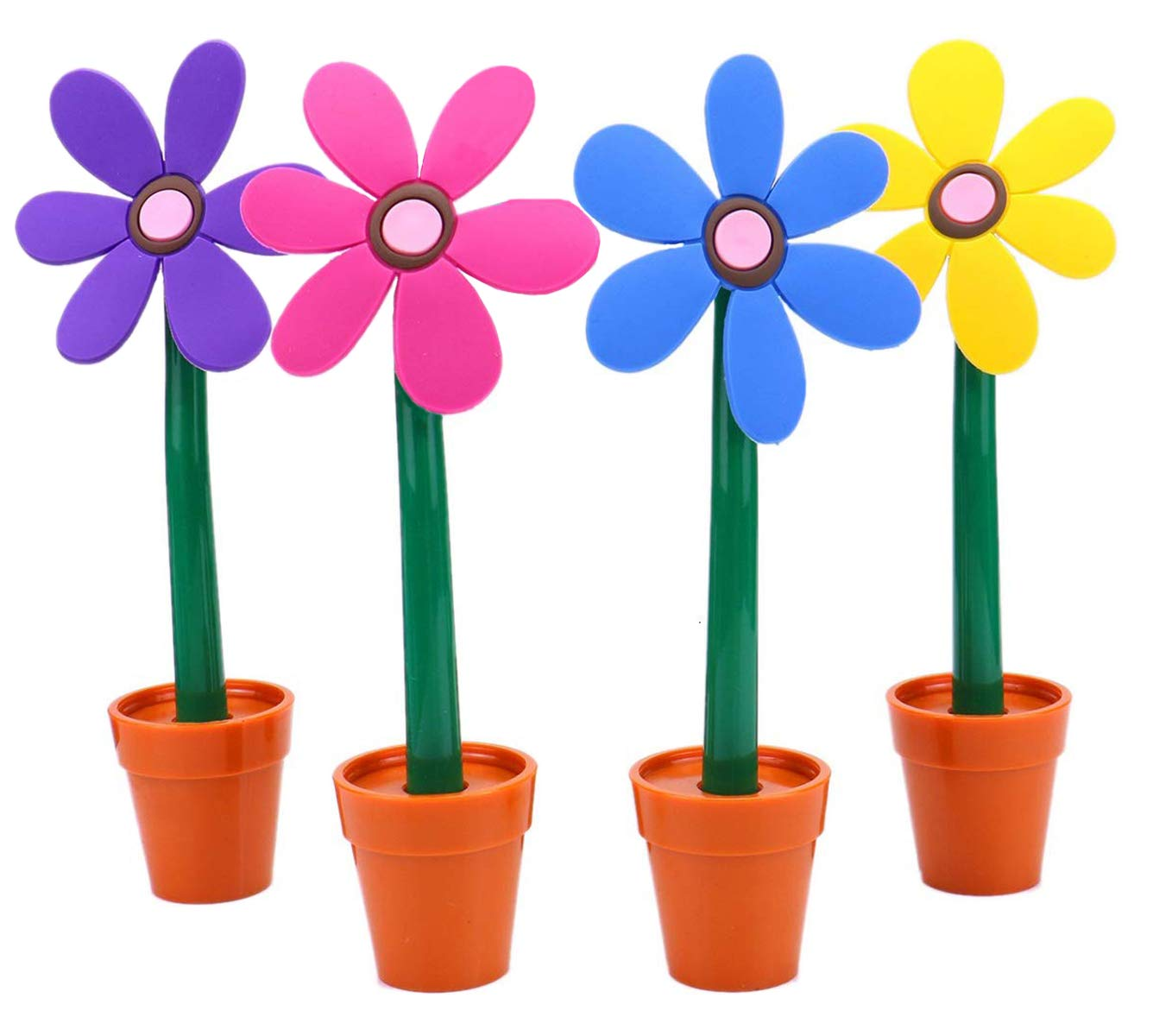 Maydahui 4PCS Flower Ballpoint Pens with Plant Pot Stand on Desk Set Cute Creative Design Colorful for Student Kids as Gift