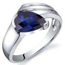 Created Sapphire Ring Sterling Silver Rhodium Nickel Finish Pear Shape 1.75 Carats Sizes 5 to 9