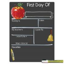 Cohas First Day of School Milestone Board with Basic Designs and Reusable Chalkboard Style Surface, 12 by 16 Inches, White Marker