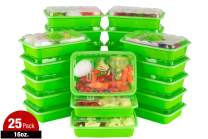 ISO Meal Prep Containers with Lids Certified BPA-Free Stackable Reusable Microwave/Dishwasher/Freezer Safe 16 oz, 25 Count, GREEN