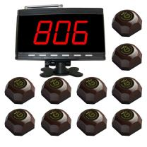 SINGCALL Wireless Restaurant Rable Call System,Waiter Caller for Customer Getting Attendant by Pressing a Table Button,Pack of 1 Display and 10 Bells
