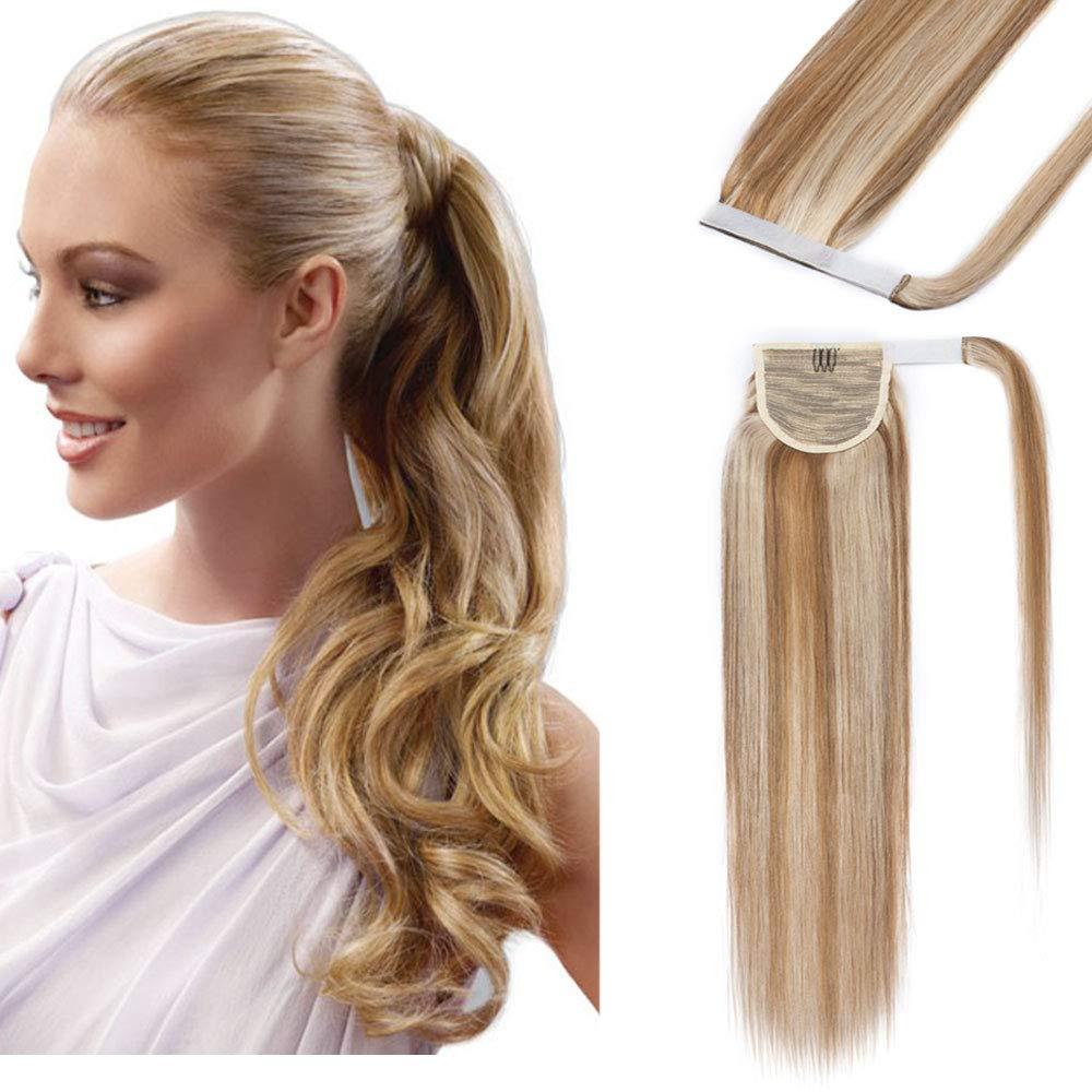 20 Inches 100% Real Human Hair Ponytail Extension One Piece Wrap Around Hairpiece With Comb Binding Pony Tail Extension For Girl Lady Women Long Straight #12P613 Golden Brown&Bleach Blonde 95g