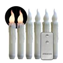 Micandle Set of 6 Led Taper Candles with Remote Control,Amber Flickering Flameless Candles for Christmas Dinner(Battery not Included) (6PCS Warm White Remote)