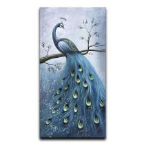 """Desihum-Blue Peacock Vertical Wall Art Hand Painted Oil Painting On Canvas Wood Inside Framed Artwork Hanging Decoration for Living Room(24""""x36"""")"""