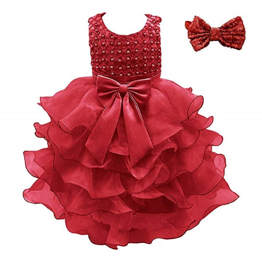 Weileenice Girls Kids Tulle Flower Dress Baby Girl Princess Christmas Pageant Birthday Party Dresses