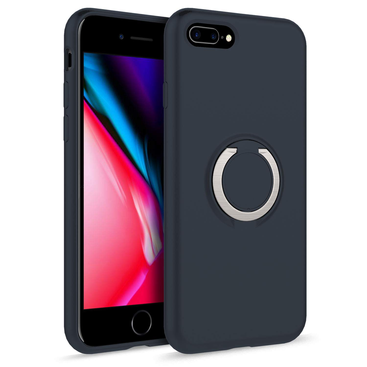 ZIZO Revolve Series Compatible with iPhone 8 Plus Case with Built in 360 Ring Holder Magnetic Mount and Kickstand iPhone 7 Plus Charcoal Blue