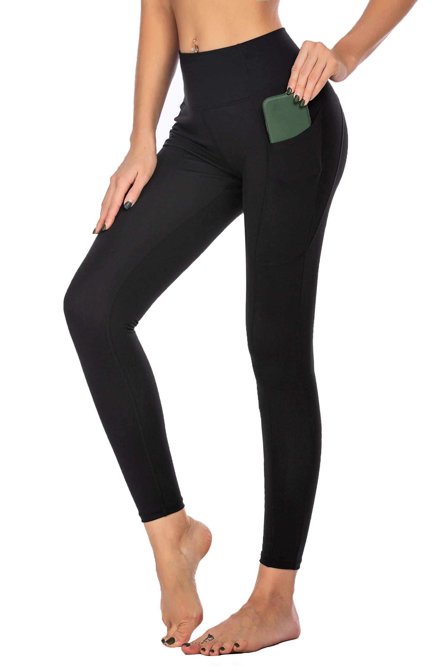 Ekouaer Women's High Waist Yoga Pants Leggings Tummy Control Workout Running Tights with Pockets