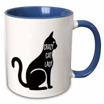 3dRose 192782_6 Crazy Cat Lady Two Tone Mug, 11 oz, Blue