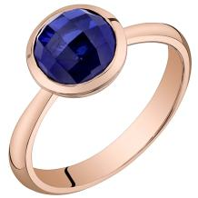 14k Rose Gold Created Blue Sapphire Solitaire Dome Ring (2.25 carat)