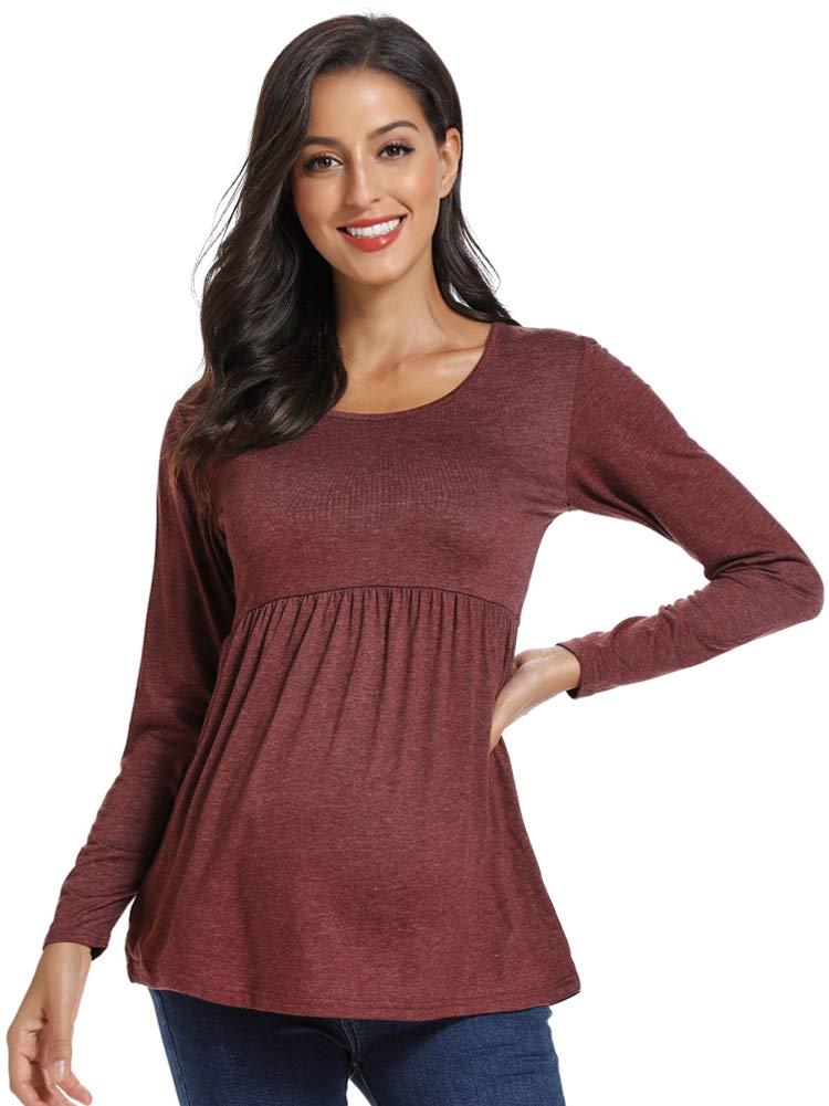 CareGabi Women's Maternity Tops Short&Long Sleeve Shirts Ruching Pregnancy Shirts for Women