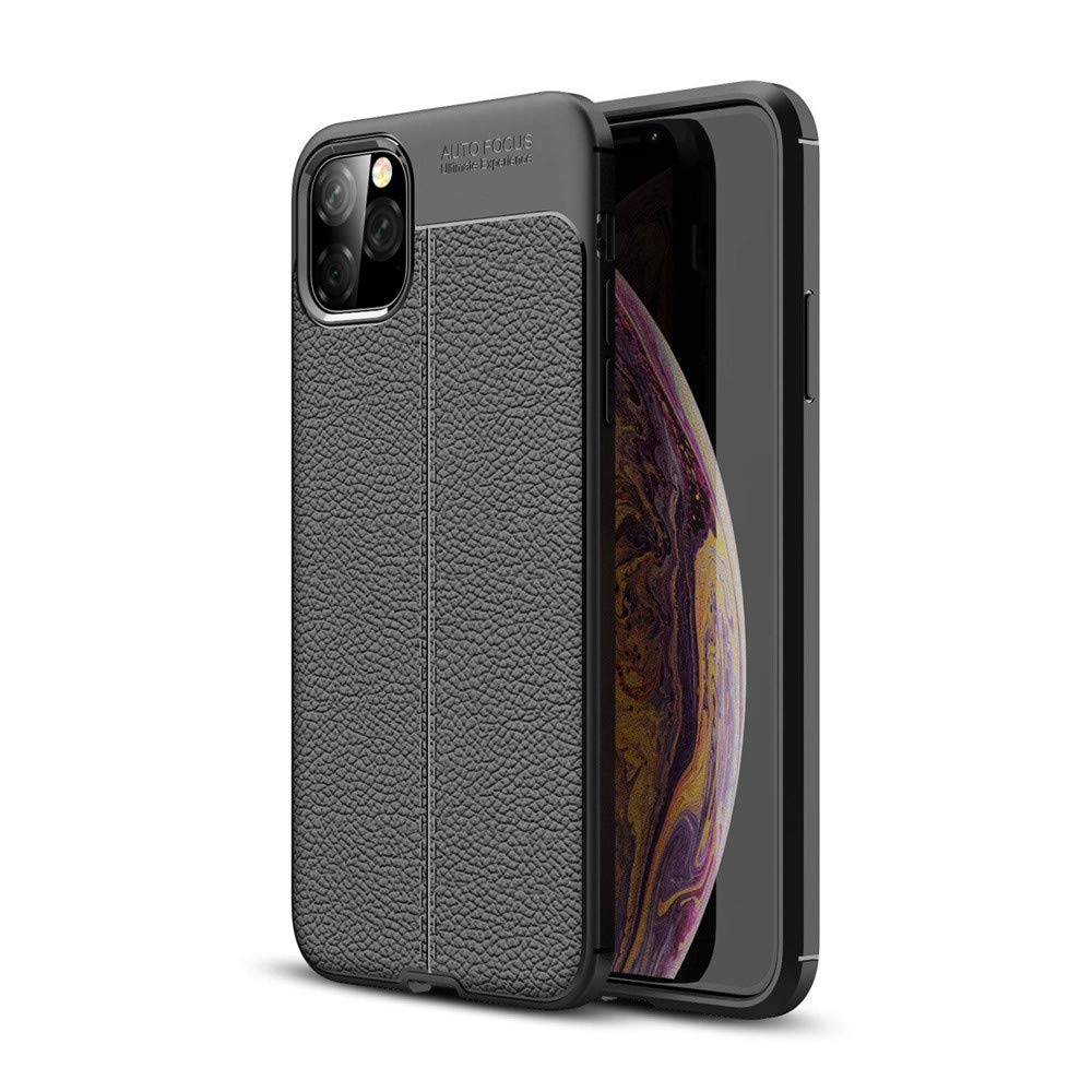 Case for iPhone 11 Pro Max,Lozeguyc iPhone 11 Pro Max Luxury PU Leather Cover Pure Elegant Cool Creative Slim Soft Shockproof Case for iPhone 11 Pro Max 6.5 Inch-Black