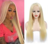 ZWJSH 613 Blonde Lace Front Wig Human Hair Pre Plucked 13x5x1 T Part Lace Wigs Brazilian Straight Blonde Human Hair Wigs for Black Women (613 T-Type Lace Wigs,24Inch)